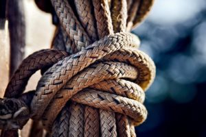 A large knot of rope from a boat.