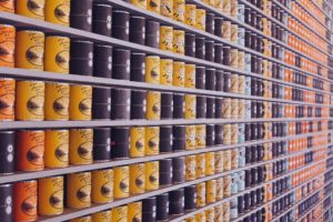 Shelves of canned food.