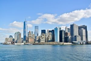 A view of the Manhattan skyline from across the water.